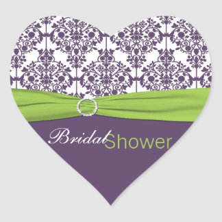Lime and Purple Damask Heart Shaped Sticker
