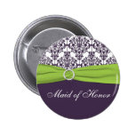 Lime and Purple Damask Maid of Honor Pin