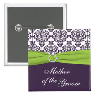Lime and Purple Damask Mother of the Groom Pin
