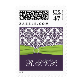 Lime and Purple Damask R.S.V.P. Postage