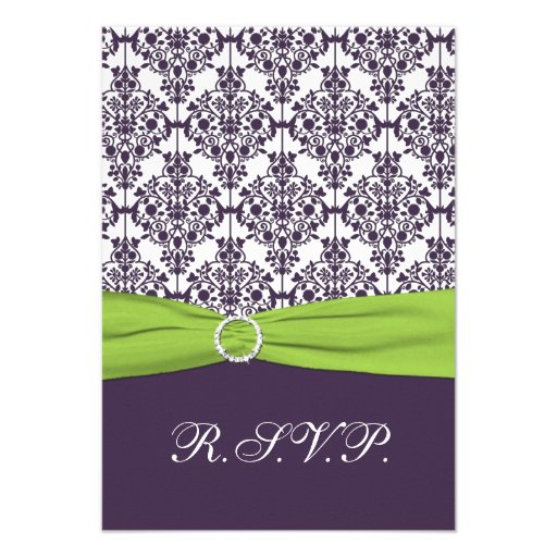 Lime and Purple Damask Reply Card - Small Invite
