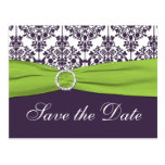 Lime and Purple Damask Save the Date Postcard