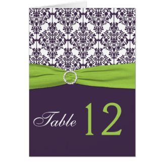Lime and Purple Damask Table Number Card card