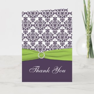Lime and Purple Damask Thank you Card card