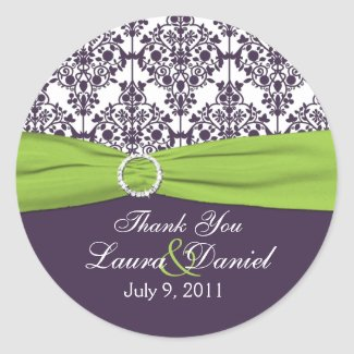 Lime and Purple Damask Thank You Sticker sticker