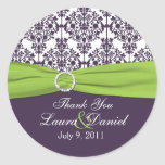 Lime and Purple Damask Thank You Sticker