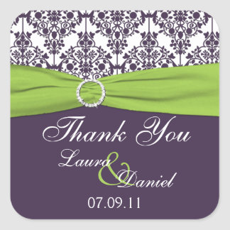 Lime and Purple Damask Wedding Favor Sticker