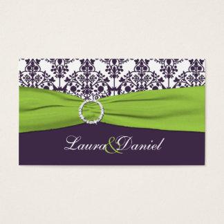 Lime and Purple Damask Wedding Favor Tag