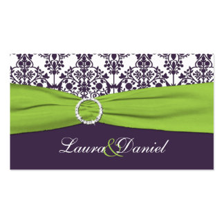 Lime and Purple Damask Wedding Favor Tag Business Card Templates