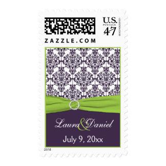 Lime and Purple Damask Wedding Postage