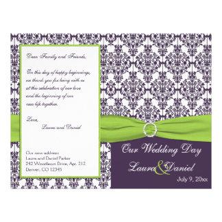 "Lime and Purple Damask Wedding Program 8.5"" X 11"" Flyer"