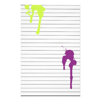 Lime and Purple Paint Drips Lined Stationery