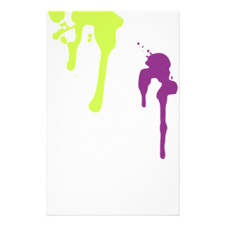 Lime and Purple Paint Drips Scrapbook Stationery