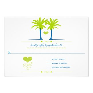 Lime and Royal Blue Beach Typography Invite