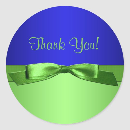 Lime and Royal Blue Thank You Sticker