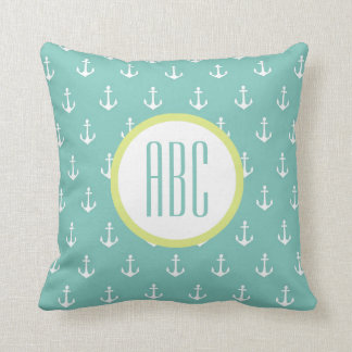 Pillows - Lime and Seafoam Green Anchor Monogram Pillow