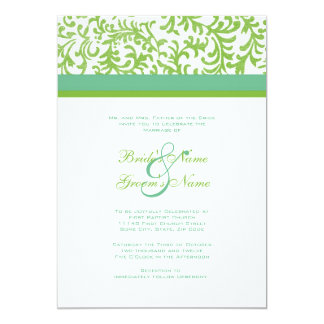 Lime And Teal Wedding Invitation