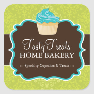 Lime and Turquoise Bakery Packaging Stickers