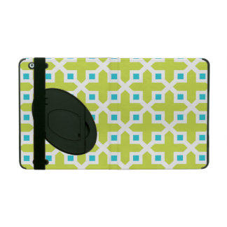 Lime and Turquoise Cross Section Pattern iPad Cover