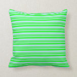 [ Thumbnail: Lime and Turquoise Pattern of Stripes Throw Pillow ]