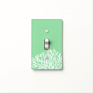 Beach Themed Lime and White Coral Light Switch Cover