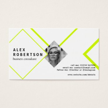 Professional Business Lime and white diamonds portrait business card