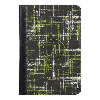 lime and white on black abstract crisscross iPad mini case