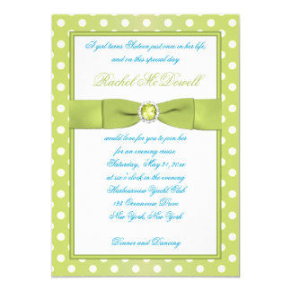 Lime and White Polka Dot Sweet Sixteen Invitation