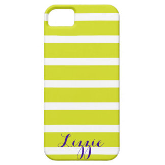 Lime and White Striped Monogram iPhone 5/5S Case