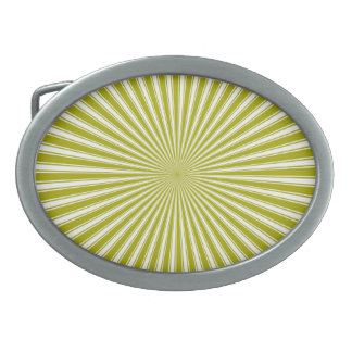 Lime and White Sun Funky Abstract Art Oval Belt Buckle