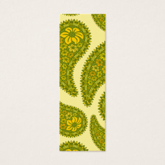 Lime and yellow paisley mini business card