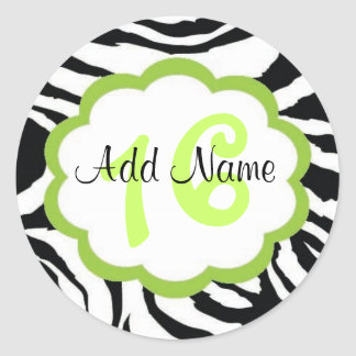 Lime and Zebra Sweet Sixteen Birthday Sticker