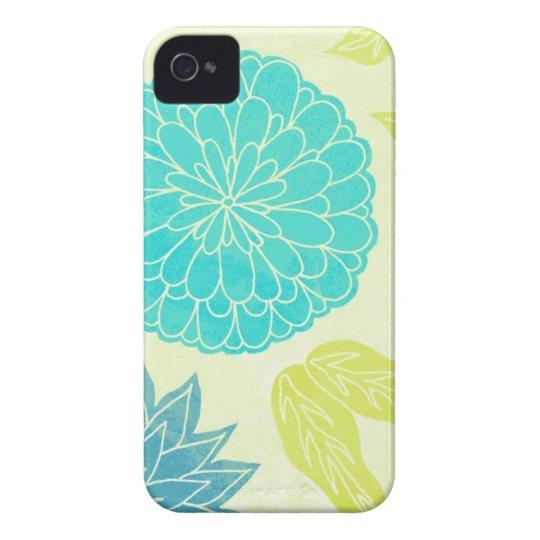 Lime & Aqua Flower Print iPhone 4 Cover