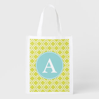 Lime Aqua Monogram Reusable Grocery Bag