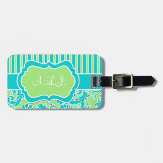 Lime, Aqua, White Striped Damask Luggage Tag