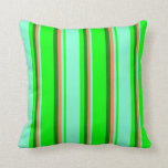 [ Thumbnail: Lime, Aquamarine, Coral & Green Colored Pattern Throw Pillow ]