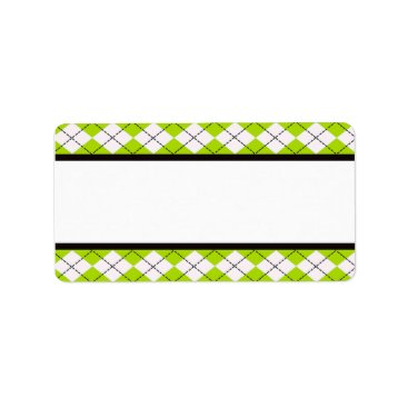 Beach Themed Lime Argyle Address Labels