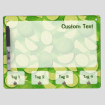 Lime Background Dry Erase Board With Keychain Holder