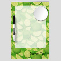 Lime Background Dry Erase Board With Mirror