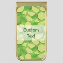 Lime Background Gold Finish Money Clip