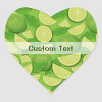 Lime Background Heart Sticker