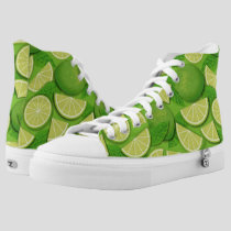 Lime Background High-Top Sneakers