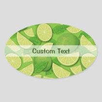 Lime Background Oval Sticker