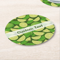 Lime Background Round Paper Coaster