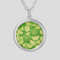 Lime Background Silver Plated Necklace