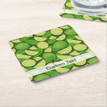 Lime Background Square Paper Coaster