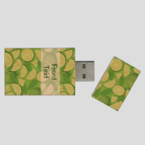 Lime Background Wood Flash Drive