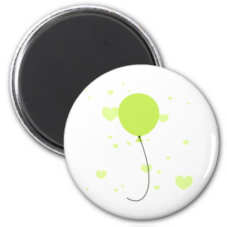 Lime Balloon & Hearts 2 Inch Round Magnet
