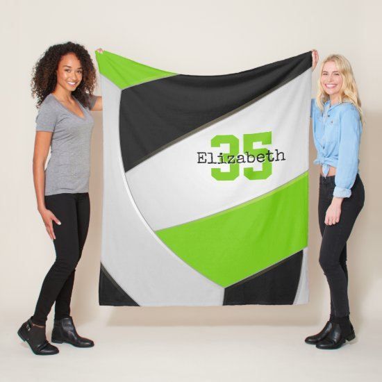 lime black and white girly volleyball personalized fleece blanket