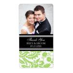 Lime Black Damask Photo Wedding Labels